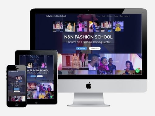 A fashion training center website designed for Nelly Nel Fashion School, Accra - Ghana