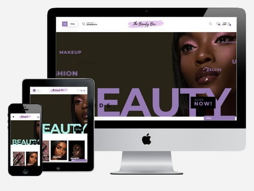 Ecommerce beauty and makeup website designed for The Beauty Box, Accra - Ghana