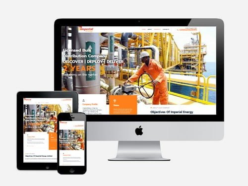 Energy sector website designed for Imperial Energy, Accra - Ghana