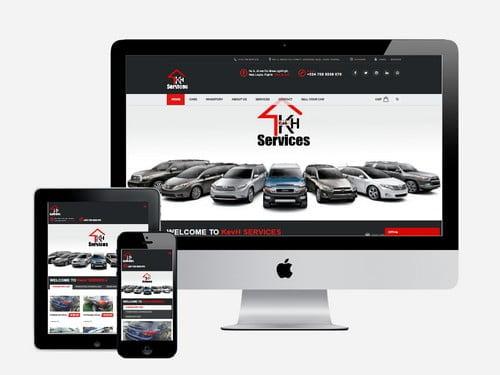 Car dealership website designed for Kev H Services, Lagos - Nigeria