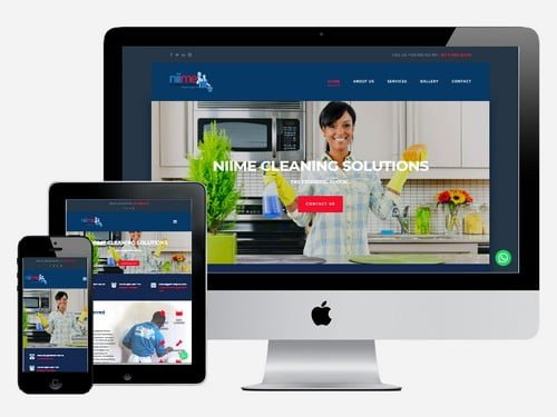 Cleaning Services website designed for Niime Cleaning Solutions, Accra - Ghana