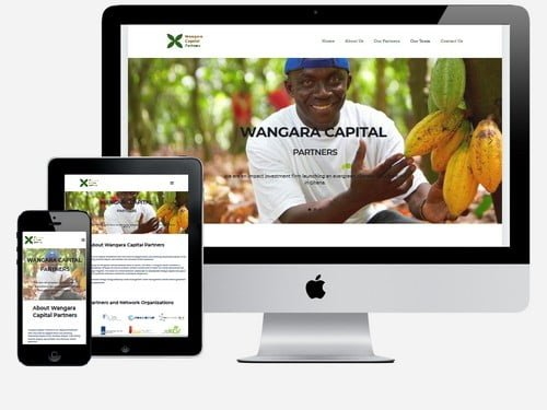 An impact investment firm website designed for Wangara Capital Partners, Accra - Ghana