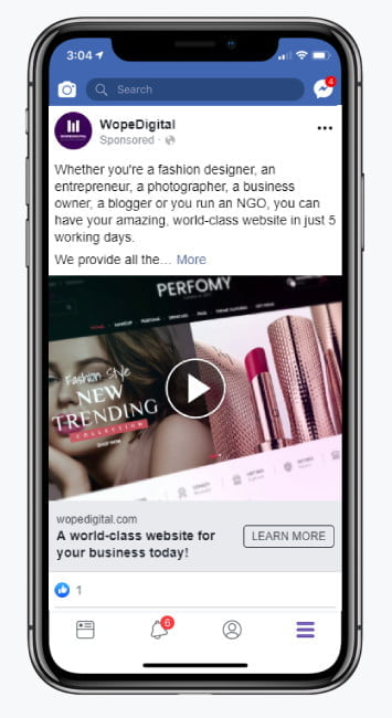 Facebook Advertising Campaign Mockup for WopeDigital