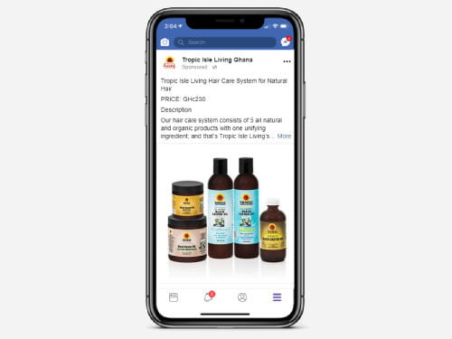 Facebook ad campaign for Tropic Isle Living Ghana