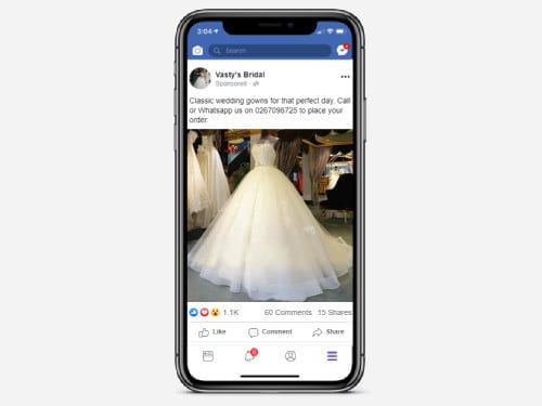 Facebook ad campaign for Vasty's Bridal