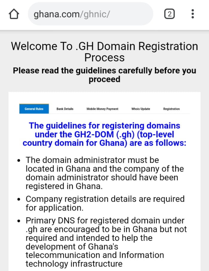 Buying a .com.gh domain
