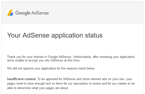 Adsense rejected insufficient content