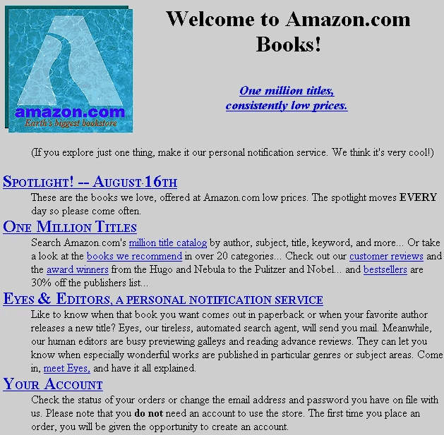 Amazon's First Website