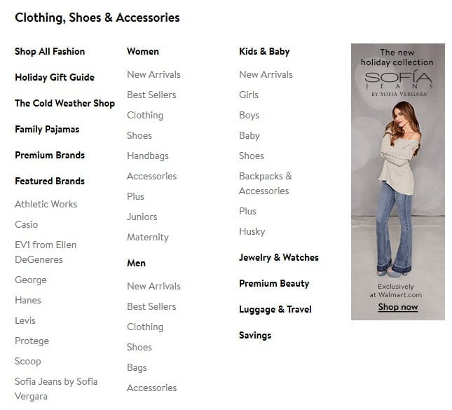 Clothing and Sub-categories Screenshot from Walmart