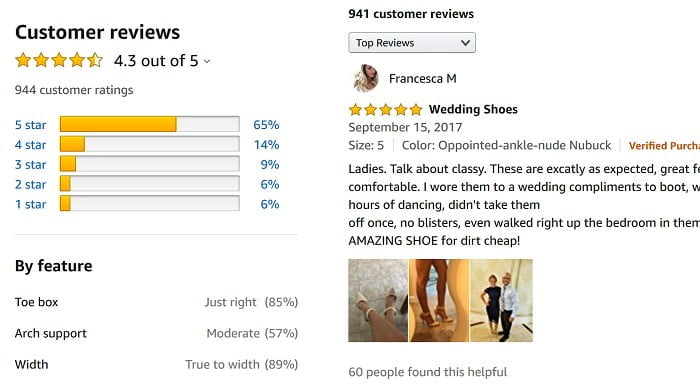 Customer reviews on products purchased
