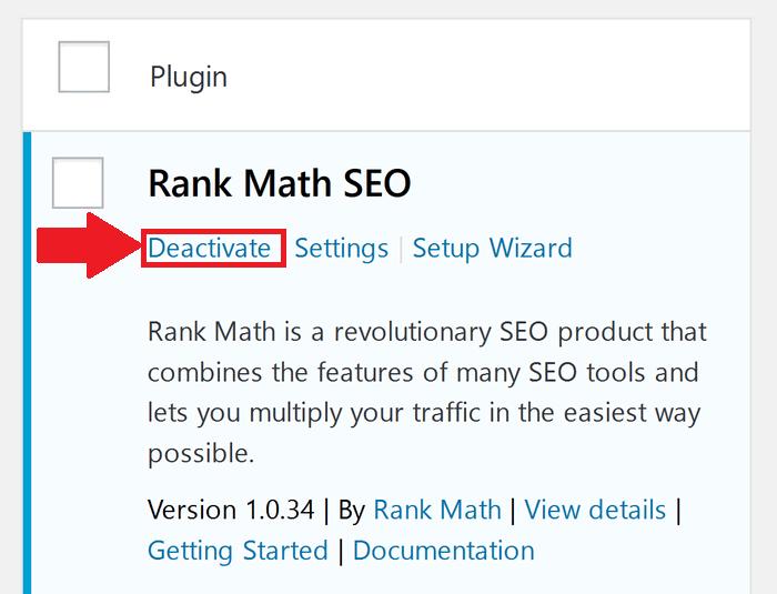 Deactivating Plugin
