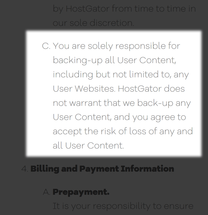 Hostgator Terms of Service on Backups