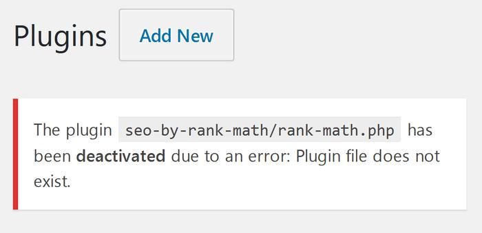 Plugin Deactivated