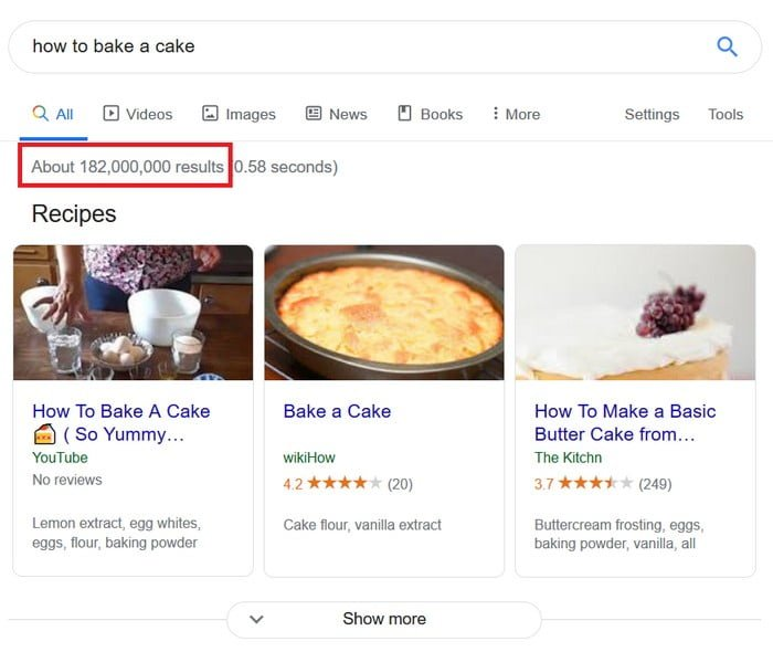 182 million results for how to bake a cake