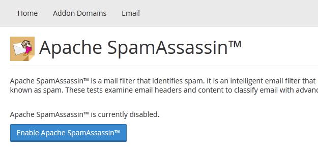 Enabling SpamAssassin
