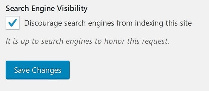 Uncheck Search Engine Visibility in WordPress