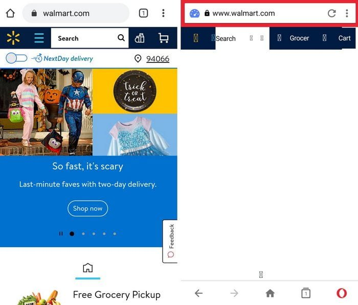 Walmart Website on Chrome vs Opera Mini
