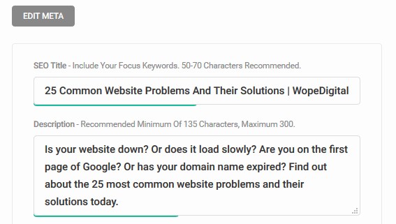 WopeDigital Meta Description via SEO Plugin