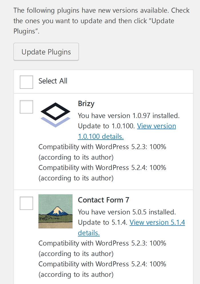 WordPress plugins to update