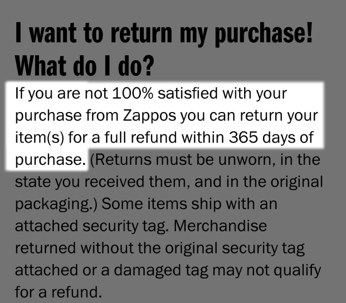 Zappos 1 Year Refund policy