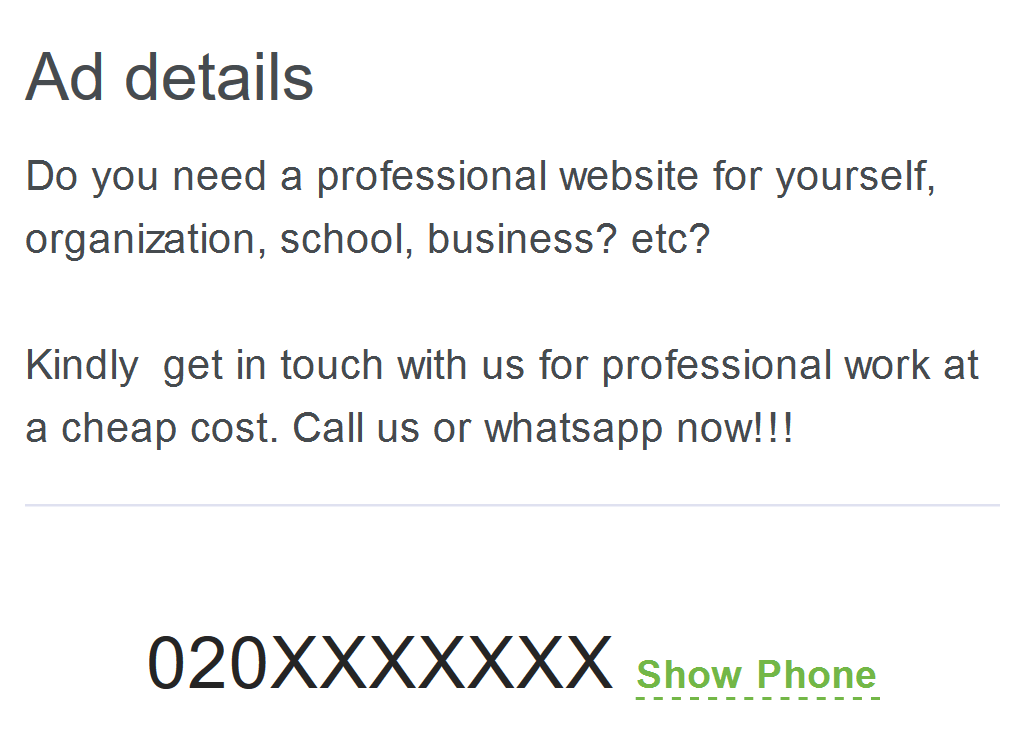 We do not recommend you choose a website designer who doesn't have a website or doesn't mention their website in their ads.