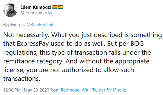 Edem Kumodzi weighed in on Twitter stating that certain transactions with international cards are categorized differently by the BoG and categorized in the remittance category