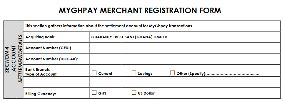 Signing up with myghpay requires that you have an account with GT Bank