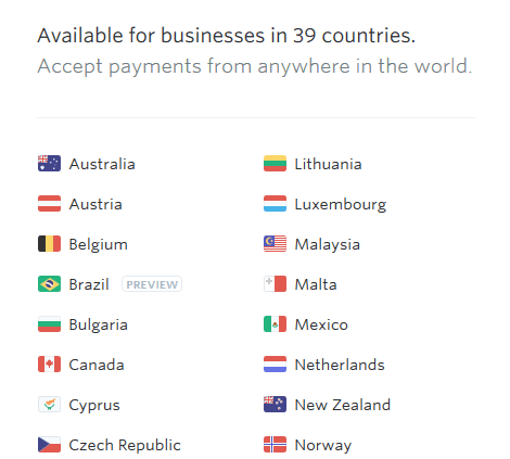 Stripe is available in only 39 countries around the world