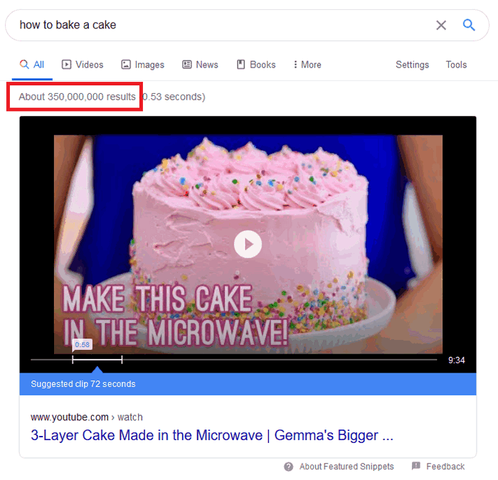 350 million results for how to bake a cake