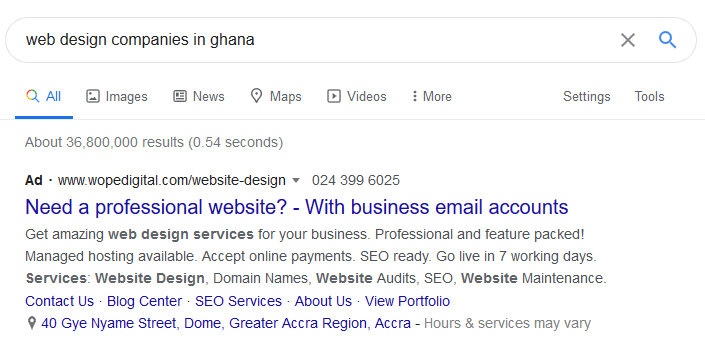 Google ad in search for website design companies in Ghana that shows before all search results