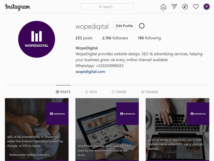 WopeDigital's profile on the social media network Instagram