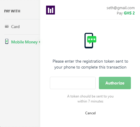 Paystack SMS OTP Authorization