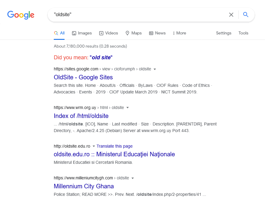 Google Search showing indexation of the phrase 'oldsite'