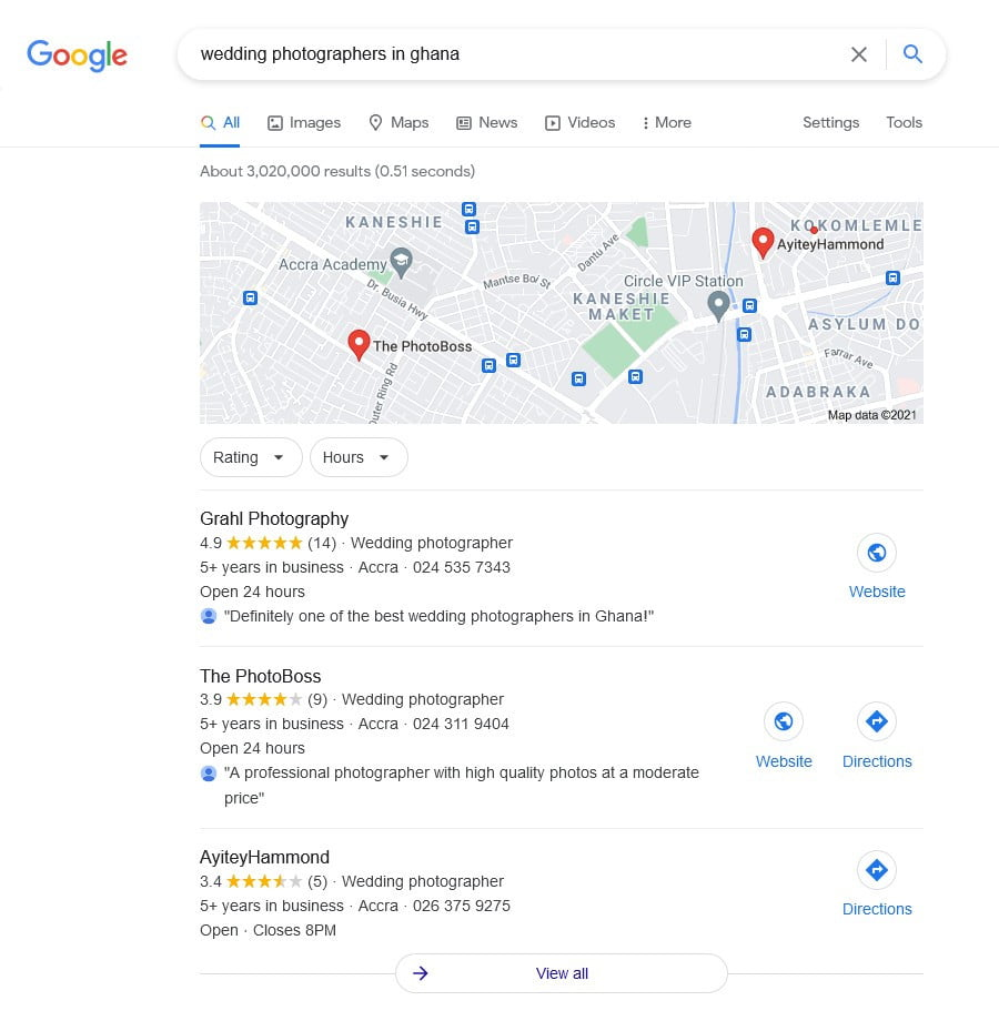 A Google search of wedding photographers in Ghana