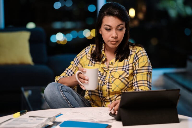 A small business owner working from home