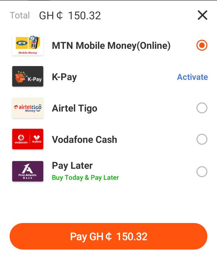 Automated payment options on the kikuu.com.gh website