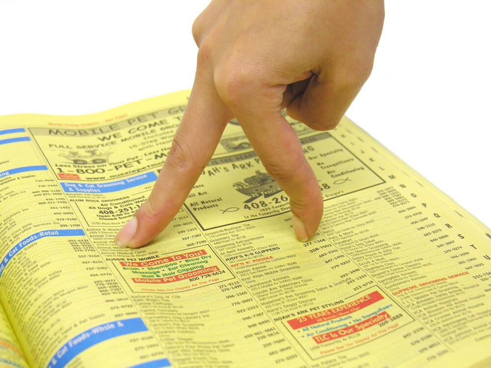 A telephone directory showing numbers of listed businesses
