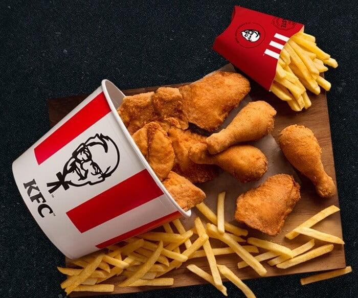 KFC chicken and chips