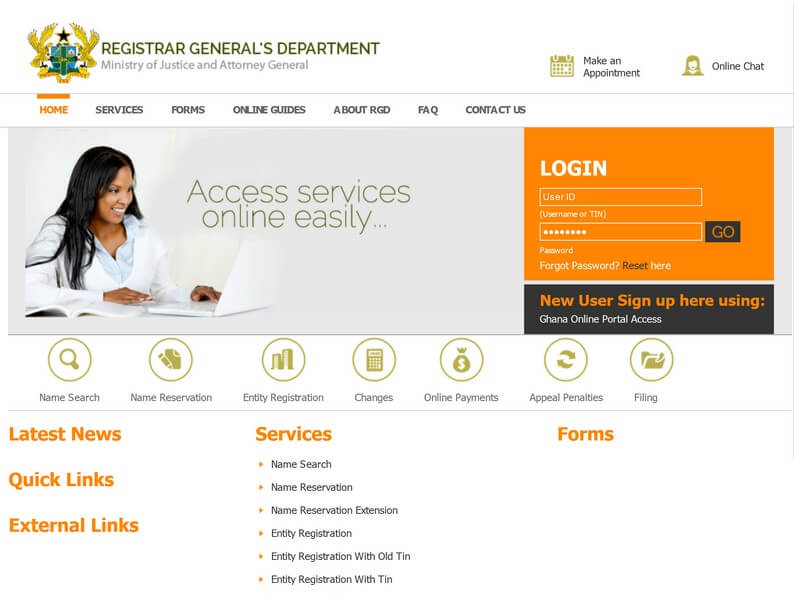 Website of the Registrar Generals Department