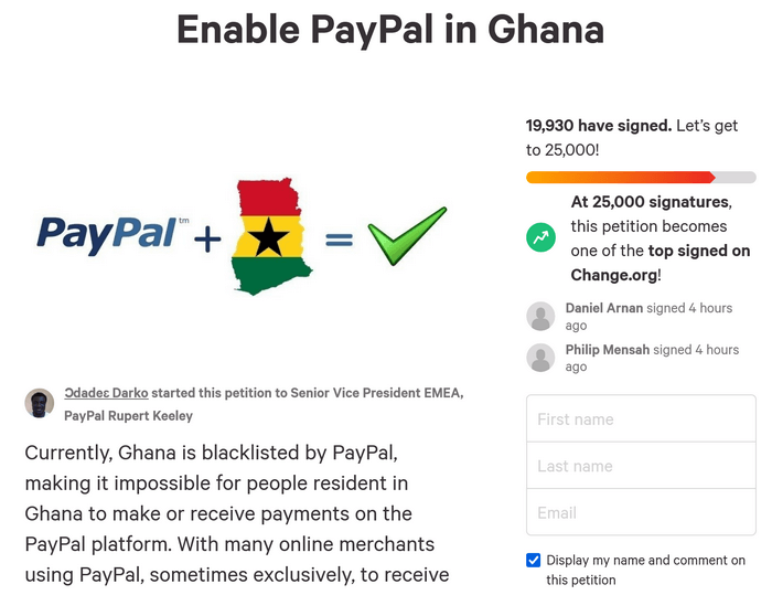Change.org petition to enable PayPal in Ghana