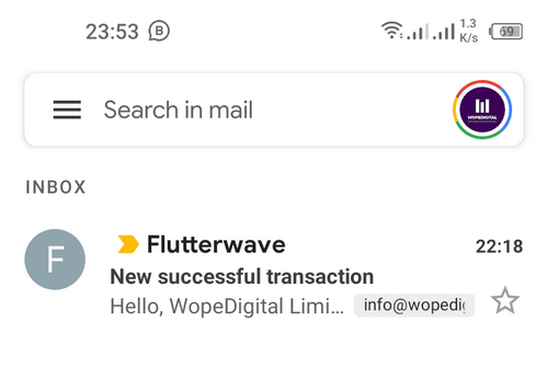 Email alert received of successful PayPal transaction via Flutterwave