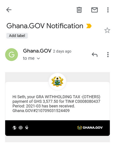 Email notification from Ghana.GOV confirming payment for GRA tax invoice