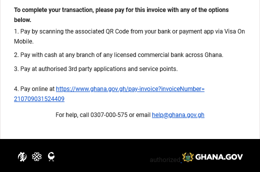 Email notification of instructions to make payment for your Ghana.GOV invoice