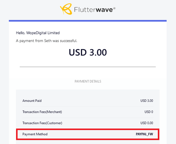 Email of successful PayPal transaction via Flutterwave