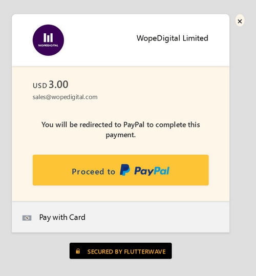 Flutterwave payment modal with Proceed to PayPal button