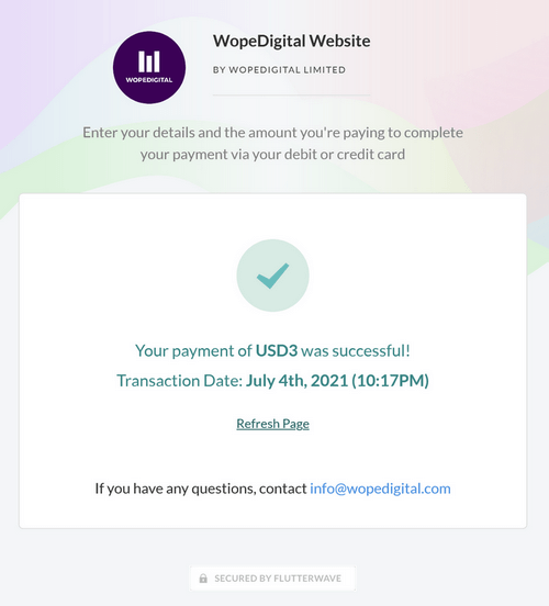 Flutterwave second payment confirmation page