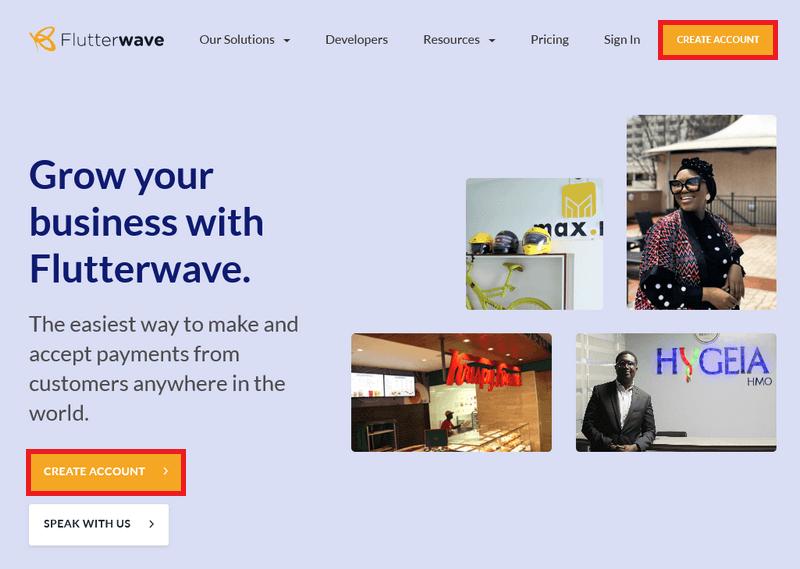 Flutterwave signup on homepage