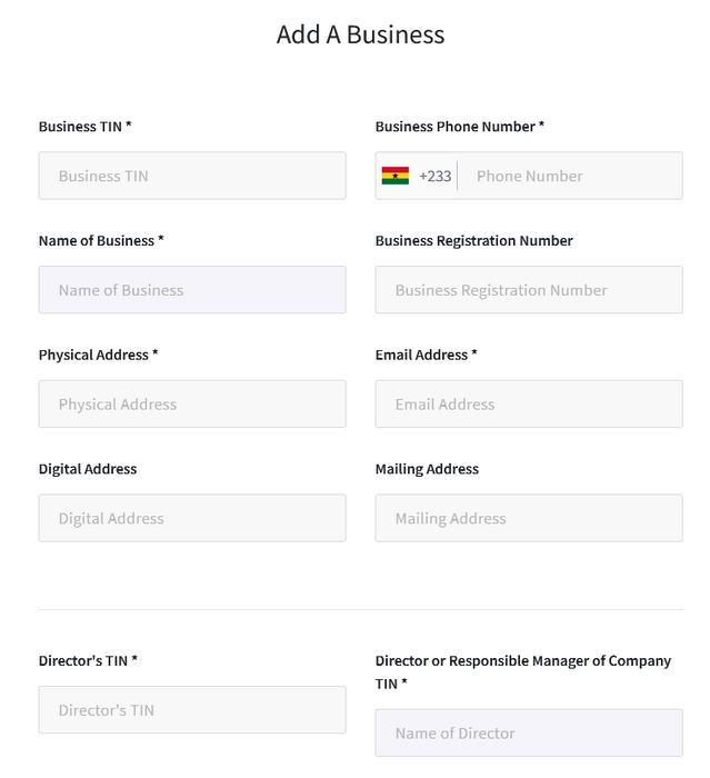 Form showing requirements to register your business on the Ghana.GOV platform