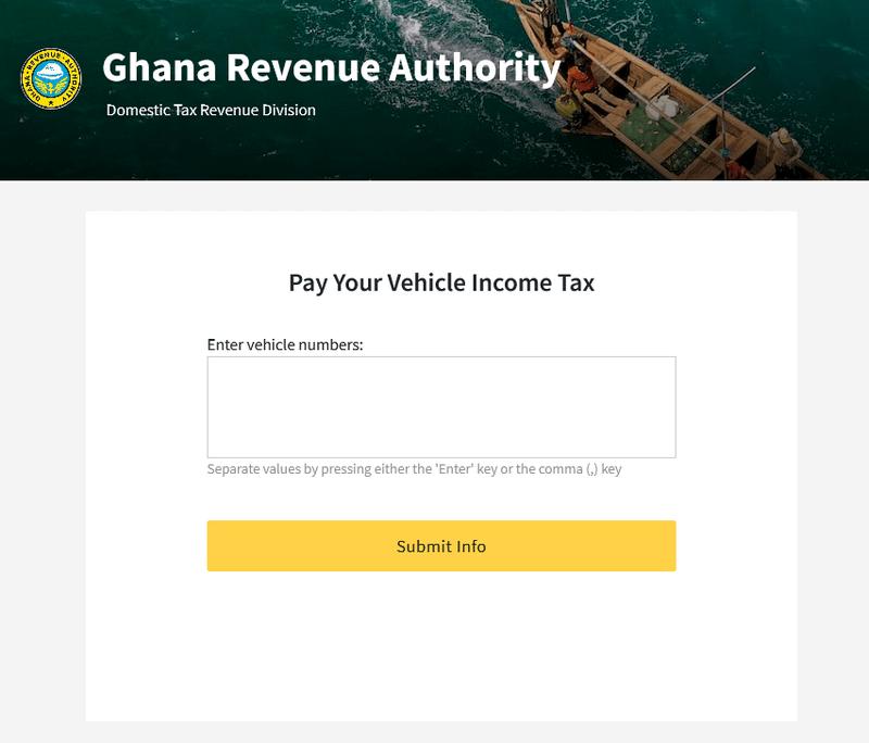 GRA - Pay your vehicle income tax on Ghana.GOV