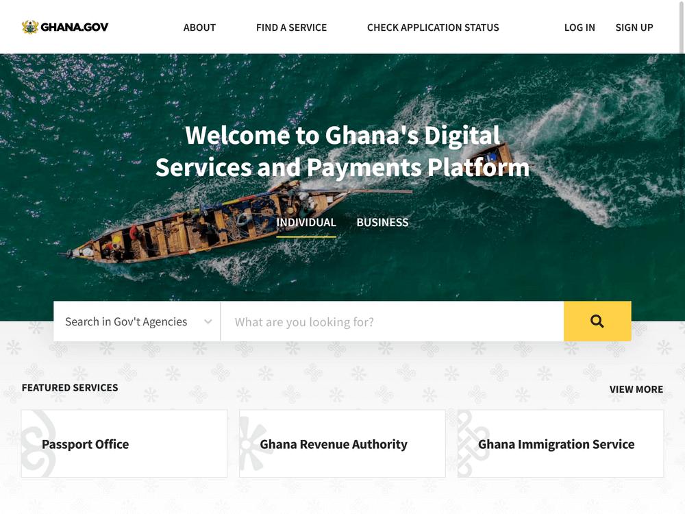 Homepage of Ghana.GOV online payment platform